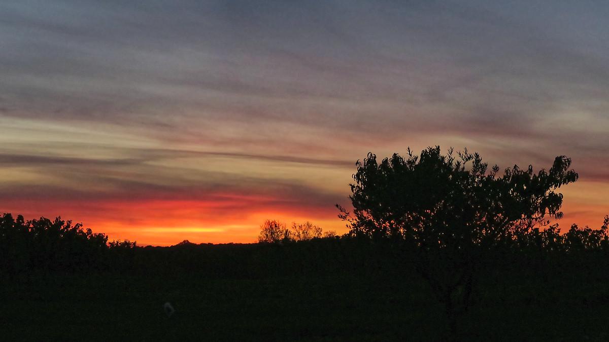 Le coucher de soleil depuis les chambres.